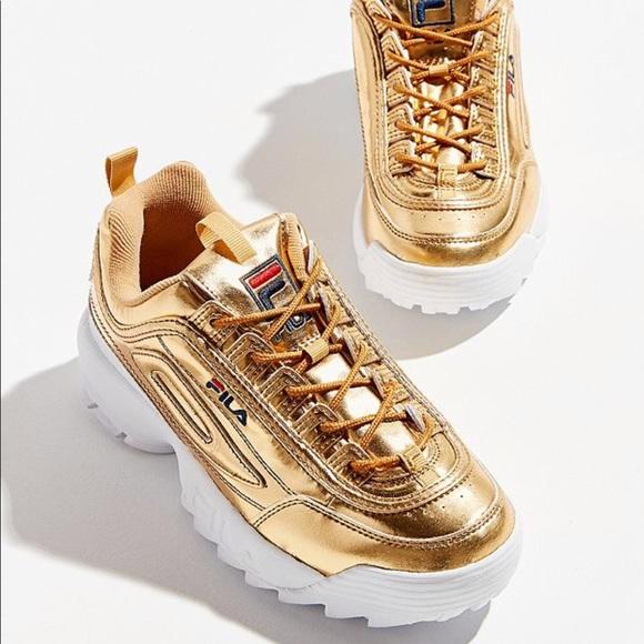 FILA Disruptor 2 Metallic Gold Sneakers
